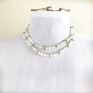 Vintage Pearl and Rhinestone Multi-Stand Necklace